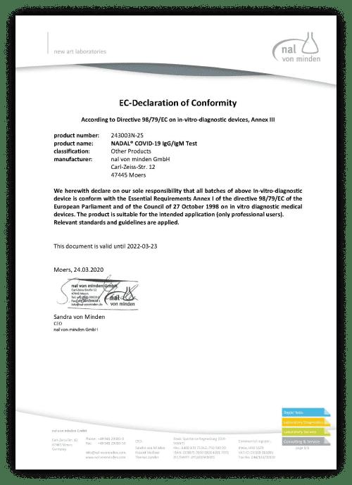 Европейский сертификат на экспресс тест на короновирус